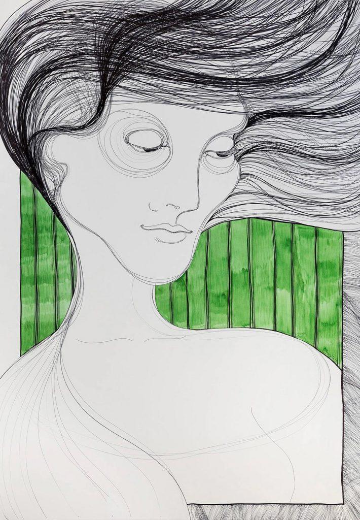 Kalypsos Dienerin - Nymphe mit wehenden Haaren