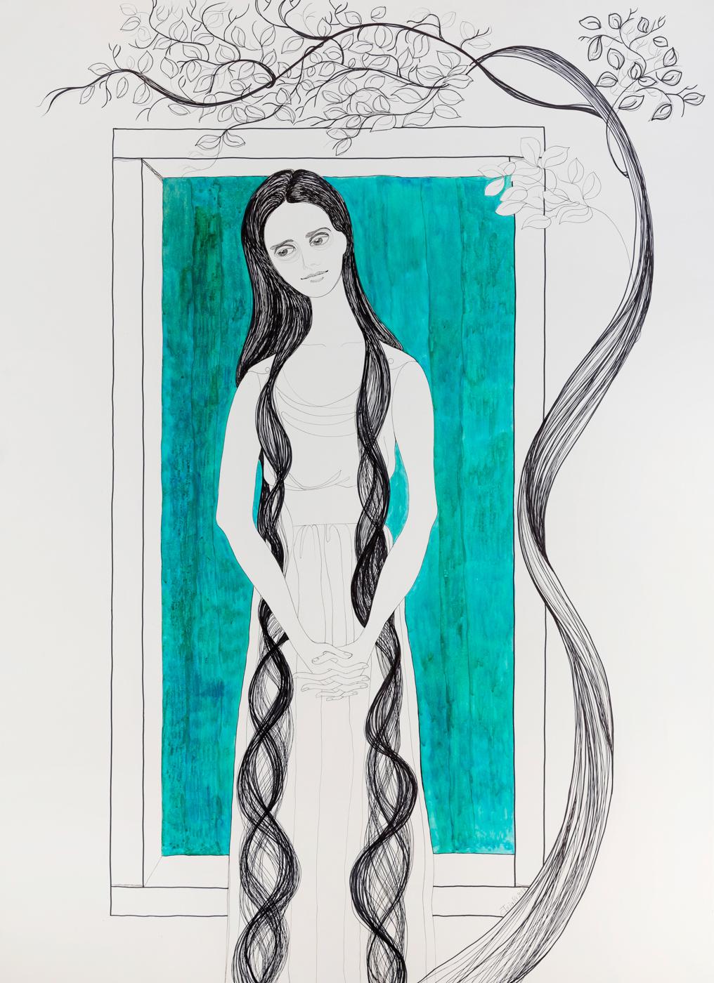Kalypsos Dienerin - Nymphe mit weißem Kleid