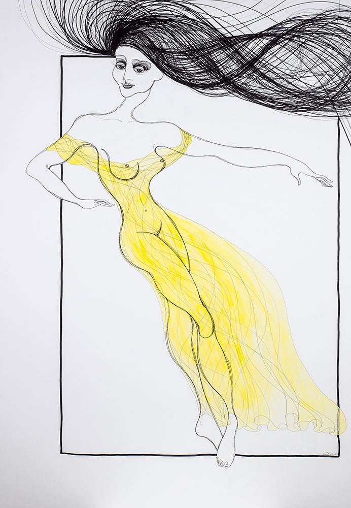 Auf Kalypsos Insel - Nymphe mit gelbem Kleid