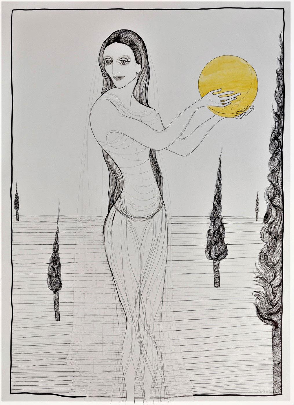 Kalypsos Dienerin - Nymphe mit Mond in den Händen